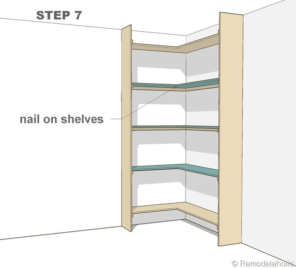 Plans for built-in corner bookshelf Step 7