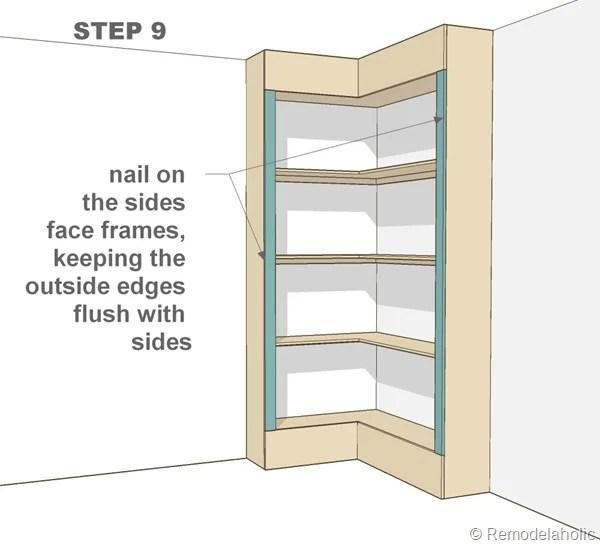 step 9 - corner bult-in bookshelves