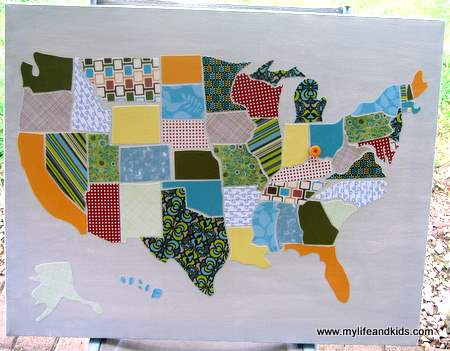 DIY USA map made out of scrapbook paper