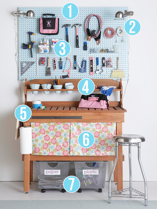 Get This Look - Pretty and Tidy Workbench - 7 tips from Remodelaholic