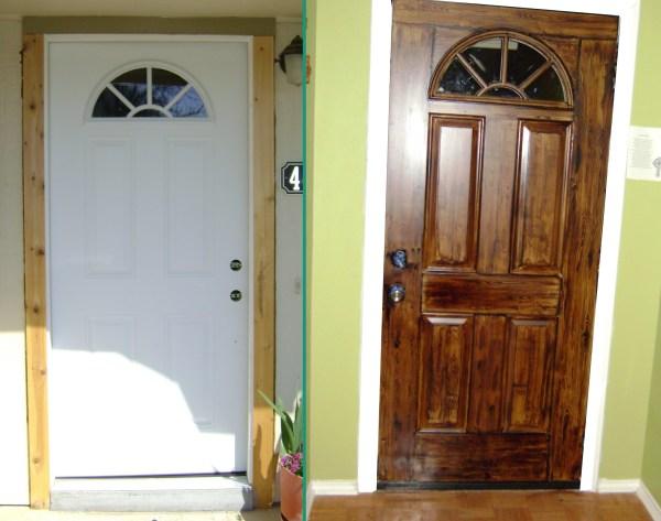 25 great diy door ideas for Painting a metal door to look like wood