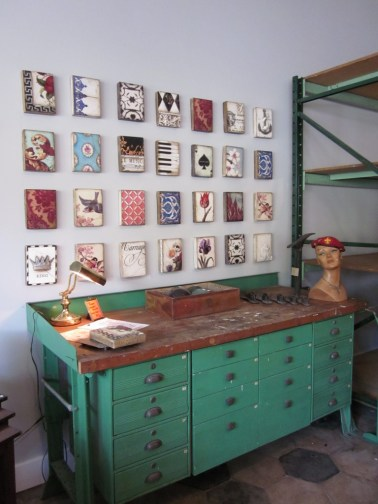 antique workbench with gallery wall, Paper Street Antiques