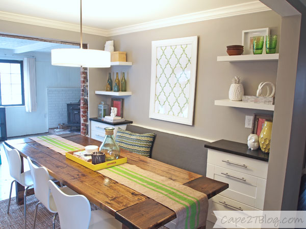 dining banquette with floating shelves, Cape27