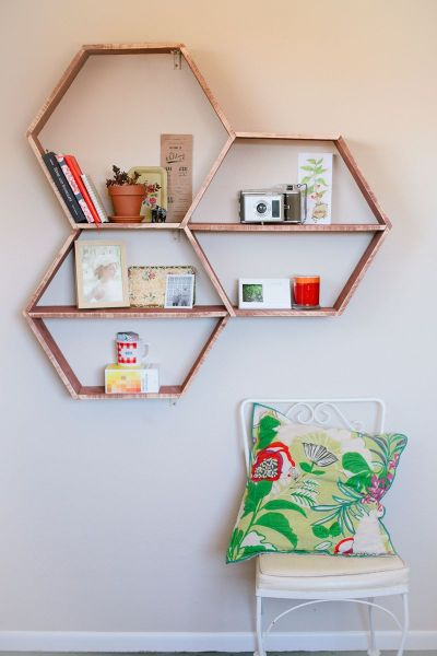 diy honeycomb wall shelves, A Beautiful Mess