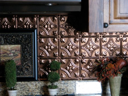 faux tin tile backsplash - The Gathering Place Design