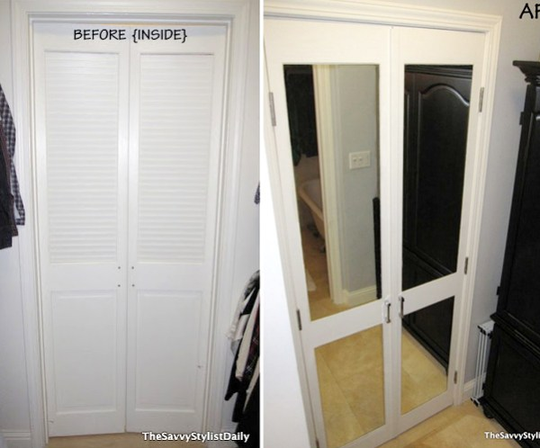mirrored closet door transformation