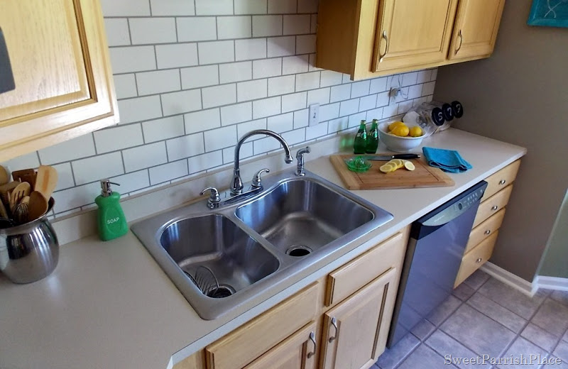 subway tile backsplash painted in the kitchen