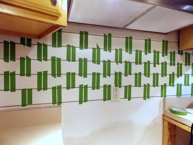 taping painted subway tile backsplash part 3