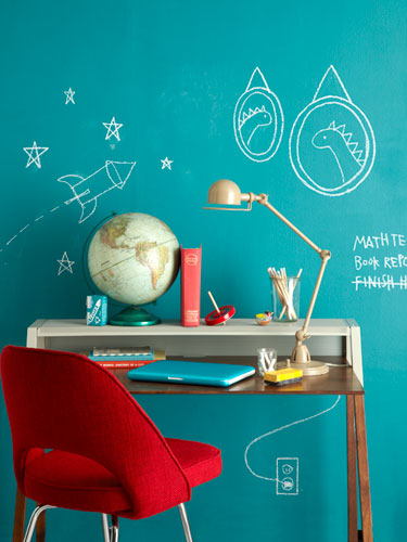Chalkboard accent wall in different color