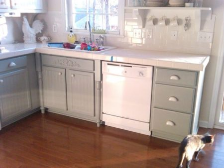 Painting Kitchen Cabinets Gray And White, Mom And Her Drill Featured On Remodelaholic
