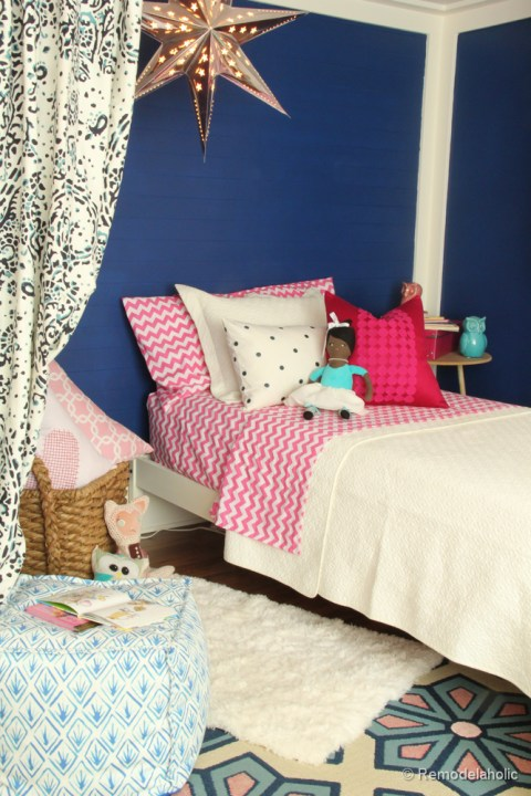 Pink and Navy Girls bedroom with bed nook-2