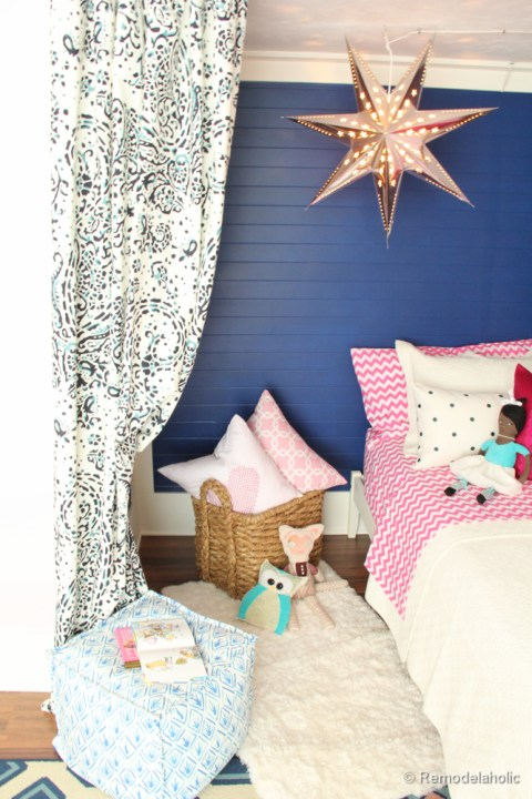 Pink and Navy Girls bedroom with bed nook-5
