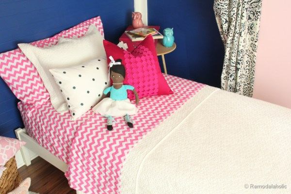 Pink and Navy Girls bedroom with bed nook-8