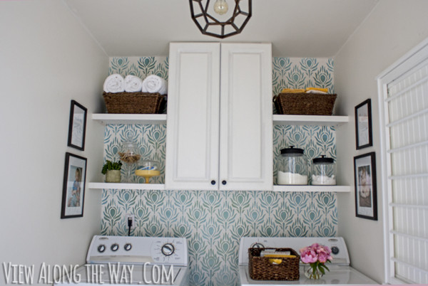 Small Laundry Room Stencilled Wall By View Along The Way On Remodelaholic