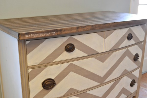 chevron kitchen buffet dresser with striped butcher block top