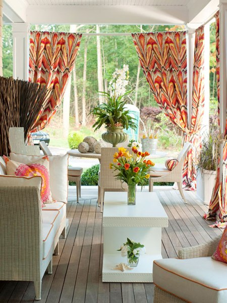 colorful outdoor room covered porch, Better Homes and Gardens