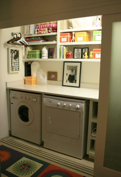 colorful small organized laundry closet, Suburban Homestead