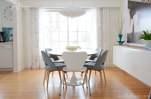 dining room after the modern floating sideboard