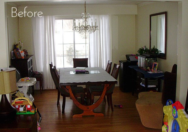 dining room before the modern floating sideboard