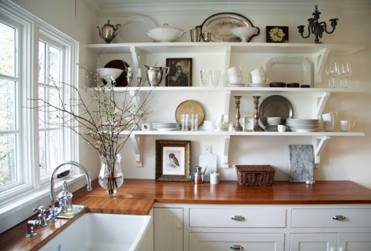 kitchen remodel, open shelving and butcher block counters, A Country Farmhouse
