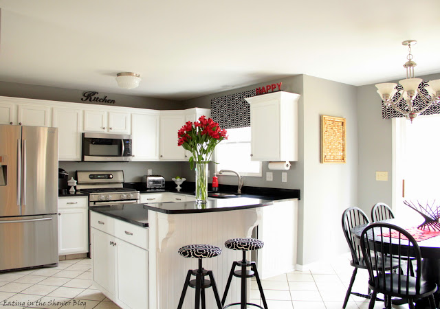 Black and white kitchen remodel with painted cabinets - Black red and white kitchen designs ...