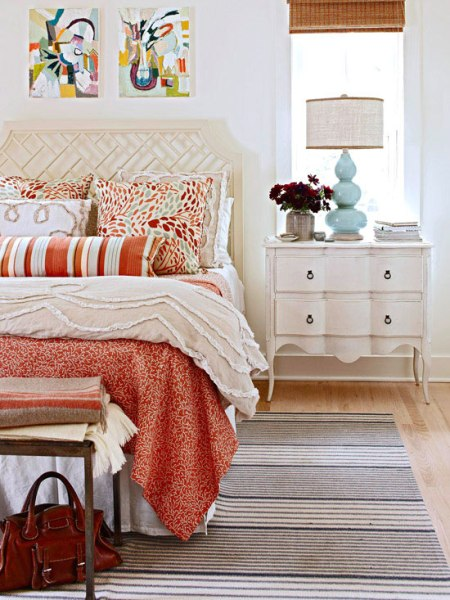 red and orange patterned bedroom, BHG