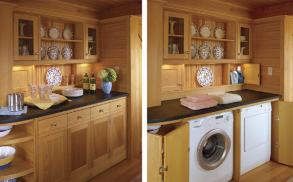 Small Laundry Room Ideas, Hidden Washer And Dryer By Fine Home Building On Remodelaholic
