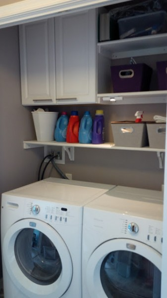 tiny laundry room closet with built-in cabinets and shelf, DIY Misadventures