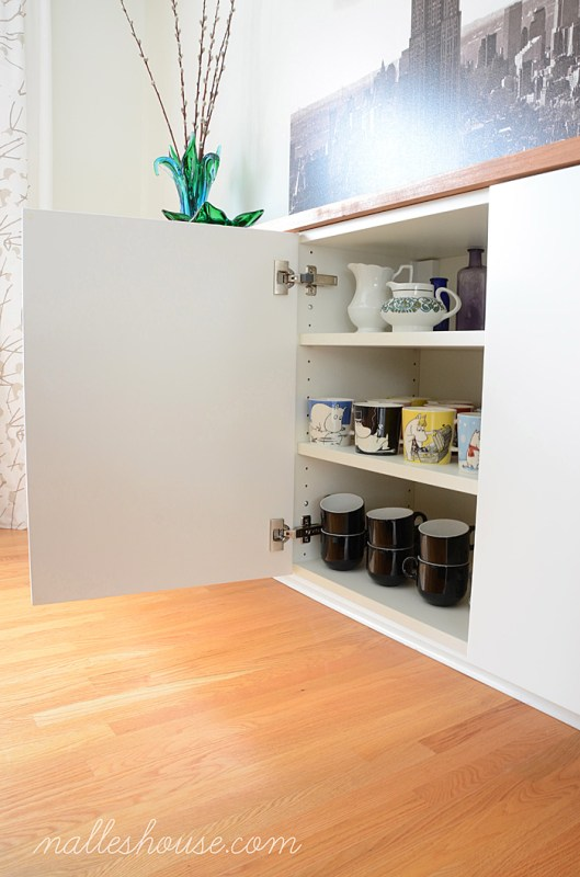 use a floating sideboard to store mugs