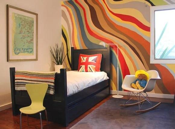 wavy painted stripe walls