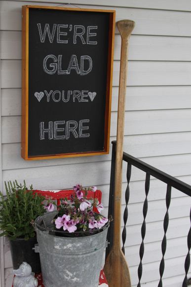 welcome guests with a chalkboard serving tray sign, A Spotted Pony