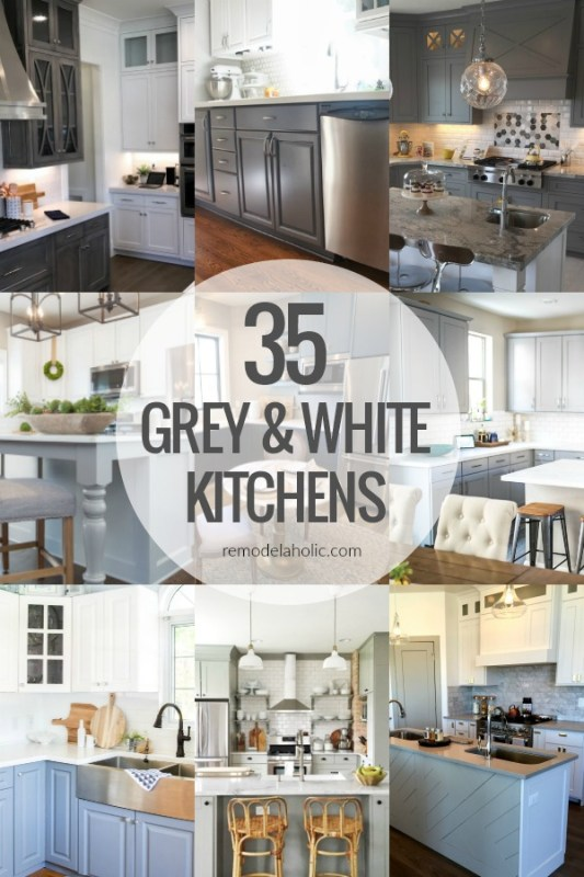 35 Grey And White Kitchen With Two Tone Grey And White Cabinetry, Kitchen Island Countertops, Backsplash #remodelaholic