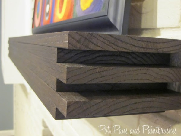DIY modern floating mantel shelf