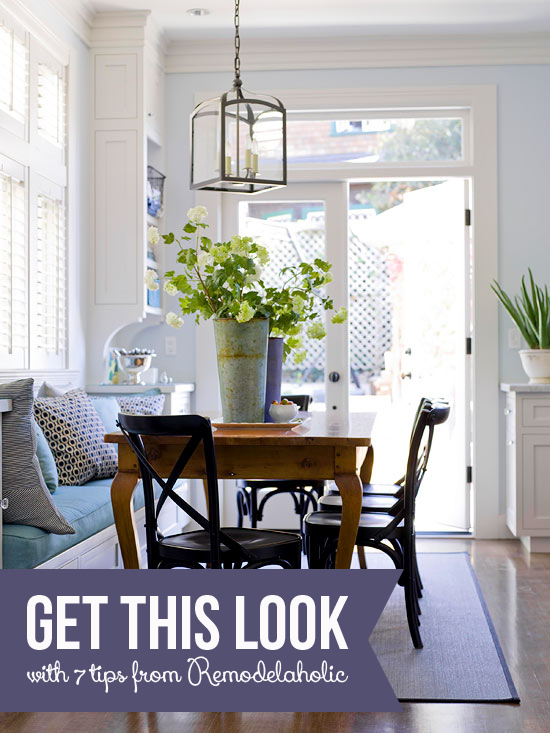 Get This Look: Built-in Banquette Bench | 7 tips for a classic-casual banquette from Remodelaholic.com #banquette #bench #builtin #getthislook @Remodelaholic