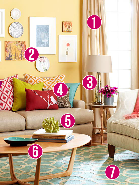 Get This Look: Color Me Casual Living Room   7 tips from Remodelaholic.com #getthislook #livingroom #lovecolor @Remodelaholic
