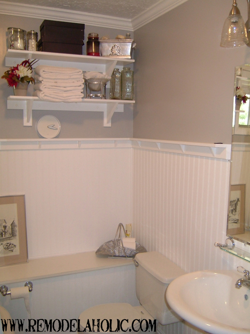 beadboard wainscoting with ledge remodelaholic - Wainscoting Design Ideas