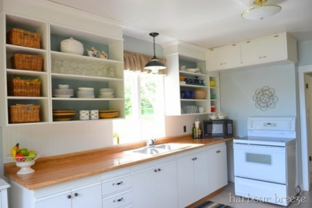 Butcher block counter tops. best kitchen remodel ideas -- kitchen update on a $100 budget with open cabinets, Harbour Breeze on Remodelaholic