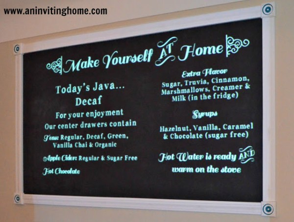 coffee bar chalkboard menu