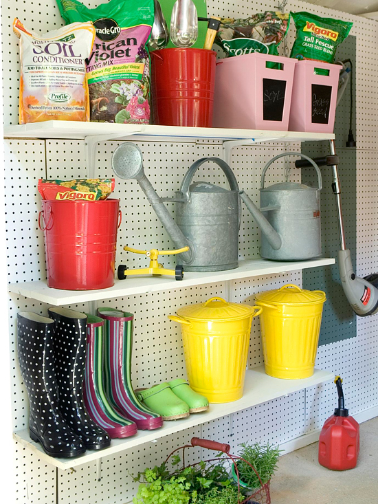 colorful simple organized garage, Better Homes and Gardens