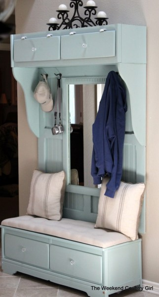 how to build a mudroom bench with a mirror from an old dresser