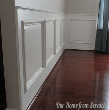 raised panel wainscoting, Our Home from Scratch on Remodelaholic