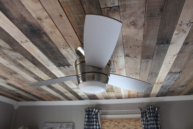 reclaimed wood ceiling treatment