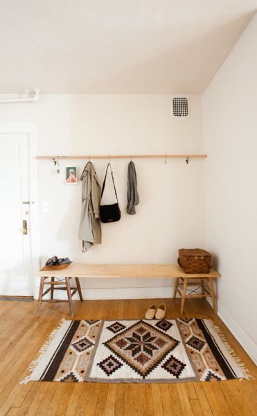 stools to bench for minimalist mudroom