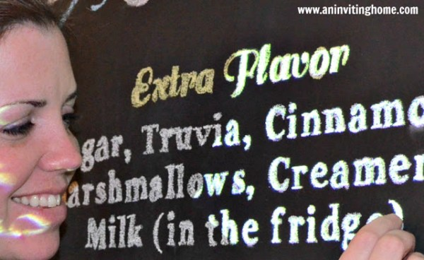 use a projector to trace letters neatly for large chalkboard menu at the coffee bar