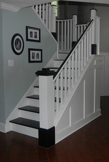 wooden stair remodel, Classic Style Home on Remodelaholic