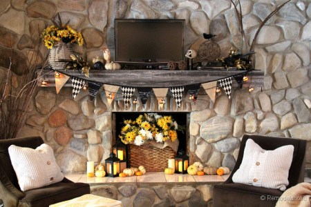 Fall and Halloween Decorating Ideas for Mantels Fireplaces and Shelves