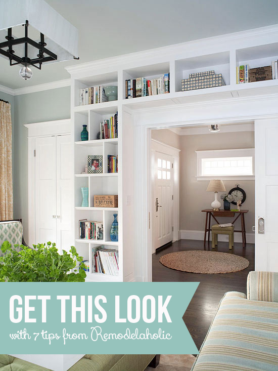 Get This Look: Living Room Built-In Shelves | 7 tips for a stylish home library from Remodelaholic.com #builtins #getthislook #library #livingroom @Remodelaholic