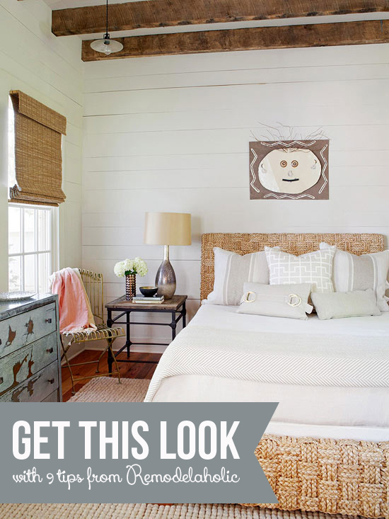 Get This Look: Neutral Rustic Bedroom | 9 tips from Remodelaholic.com #getthislook #rustic #neutral #bedroom @Remodelaholic