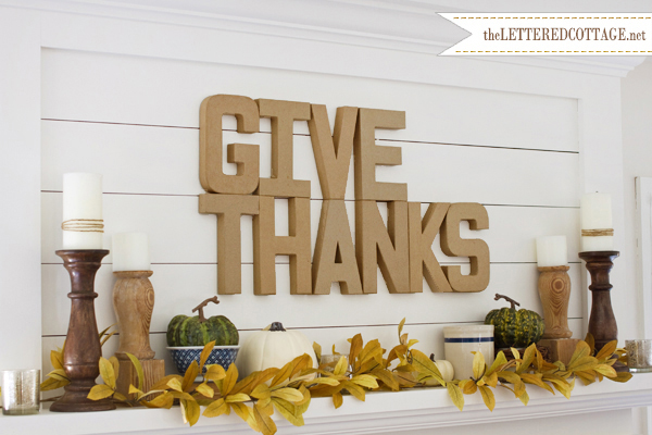Thanksgiving mantel with paper mache letters, The Lettered Cottage
