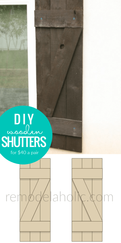 Affordable DIY Wooden Window Shutters Tutorial To Build And Install Shutters For Added Curb Appeal Remodelaholic